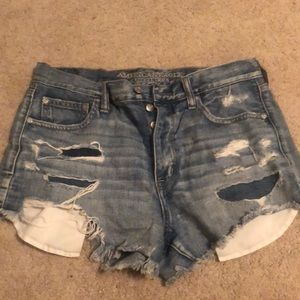 festival distressed and patched shorts